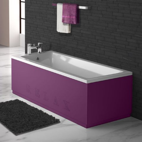 High Gloss Aubergine Engraved 2 Piece adjustable Bath Panels